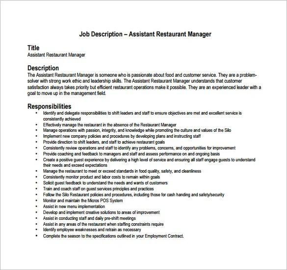 Restaurant Manager Job Description Template \u2013 8+ Free Word, PDF - customer service manager job description