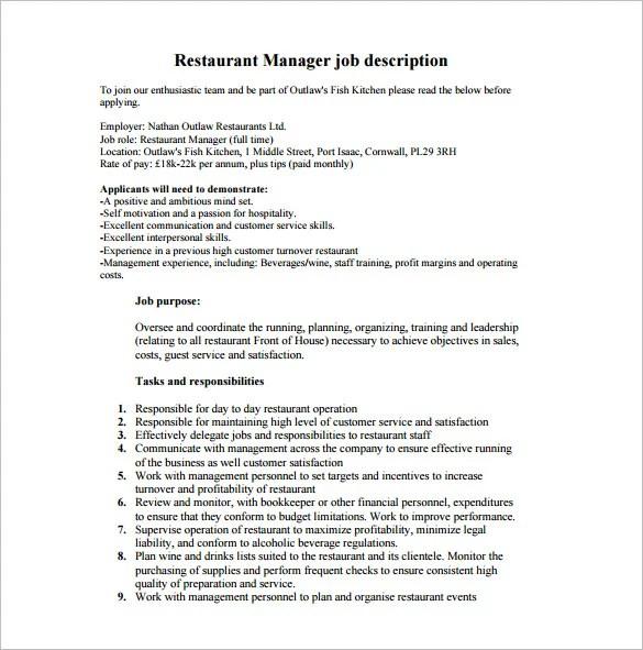 resume for restaurant manager duties best resumes curiculum