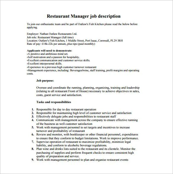 front of house manager resume examples