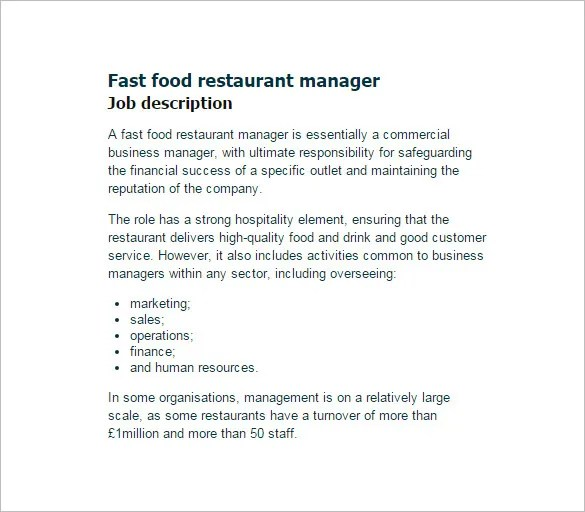 Restaurant Manager Job Description Templates - 10+ Free Sample - business manager job description