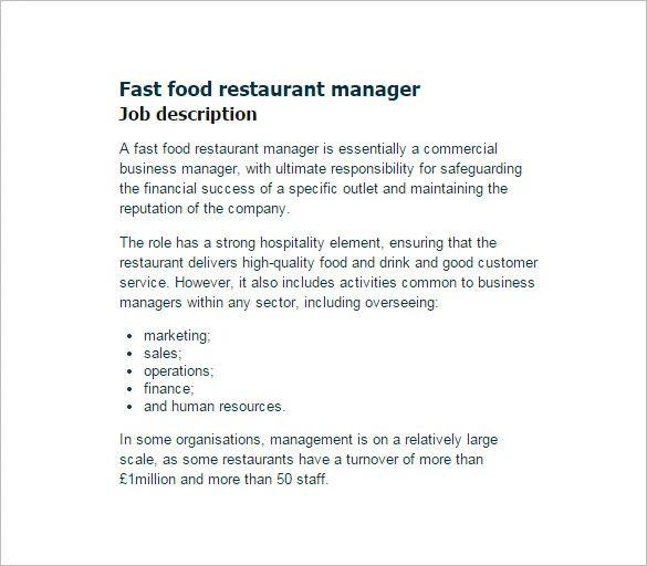 restaurants manager job description