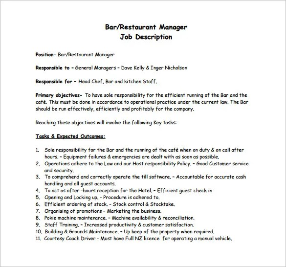 Restaurant Manager Job Description Templates - 10+ Free Sample - job description templates