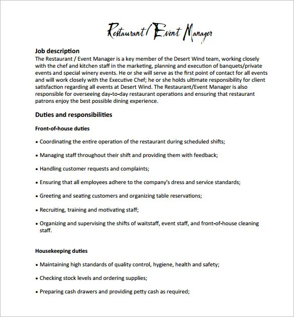 Restaurant Manager Job Description Templates - 11+ Free Sample