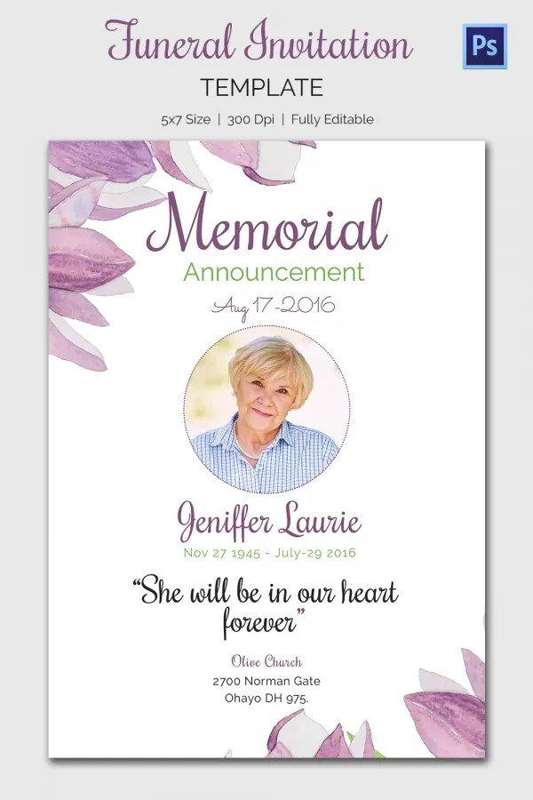 ... Funeral Invitation Template   Burial Ceremony Program ...  Invitation For Funeral Ceremony
