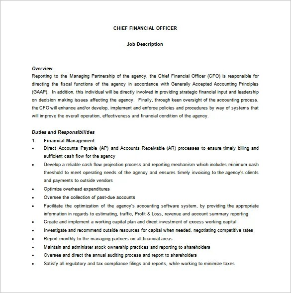 Sample Cfo Job Description. Chief Financial Officer Of