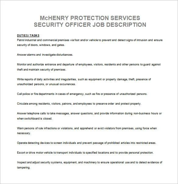 Security Officer Job Description Template \u2013 13+ Free Word, PDF