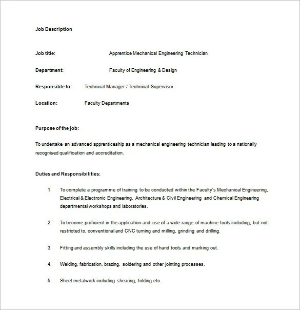 Mechanical Engineering Job Description Template - 8+ Free Word,PDF - mechanical engineer job description