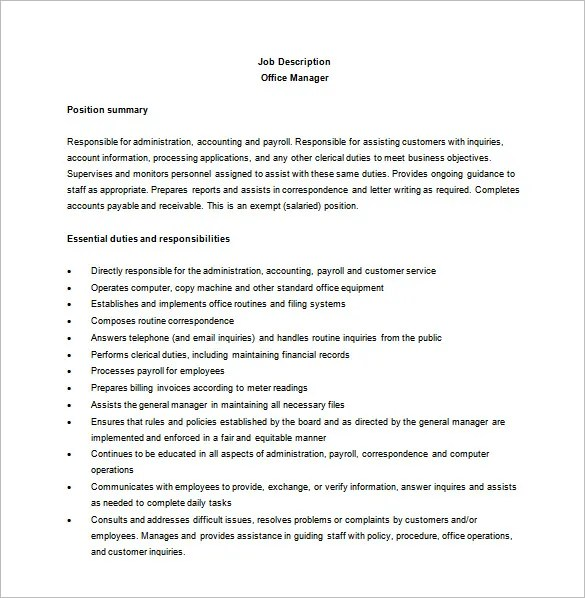 Office Manager Job Description Template \u2013 10+ Free Word, PDF Format