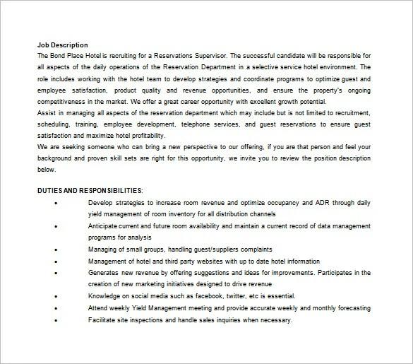 Assistant Manager Job Description Template - 9+ Free Word, PDF - assistant manager job description