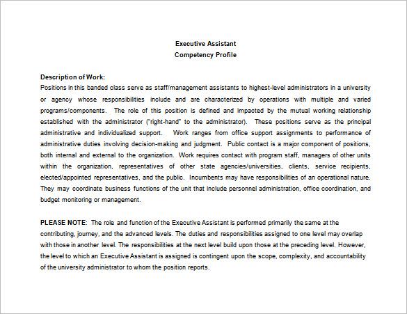 Executive Assistant Job Description Template - 8+ Free Word, PDF