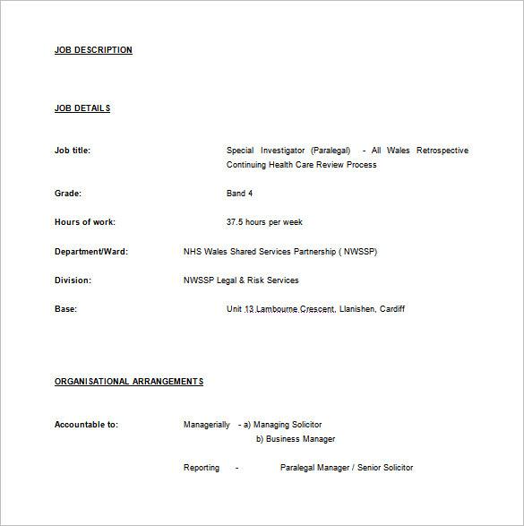 Paralegal Job Description Template u2013 10+ Free Word, PDF Format - resume format for job in word