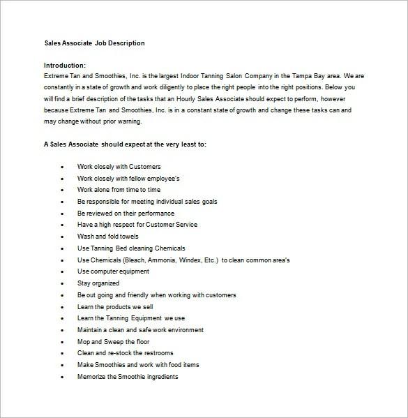Sales Associate Job Description Template - 7+ Free Word, PDF Format - sales associate job descriptions