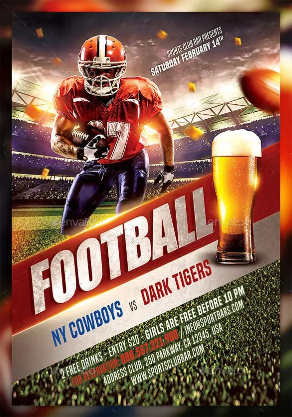 23+ Football Flyer Templates \u2013 Free PSD, EPS, AI, InDesign, Word - free pdf flyer templates