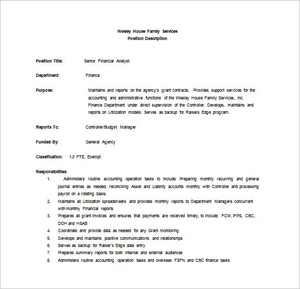 Financial Analyst Job Description Template \u2013 9+ Free Word, PDF - analyst job description