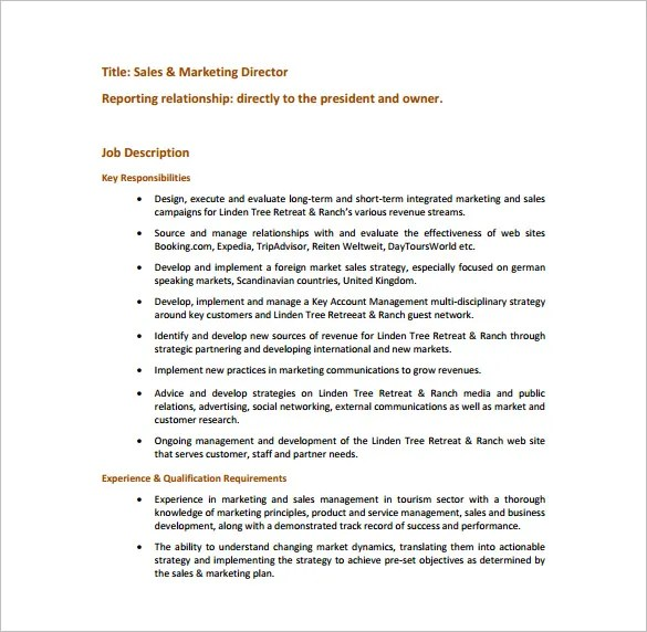 Marketing Director Job Description Template \u2013 7+ Free Word, PDF