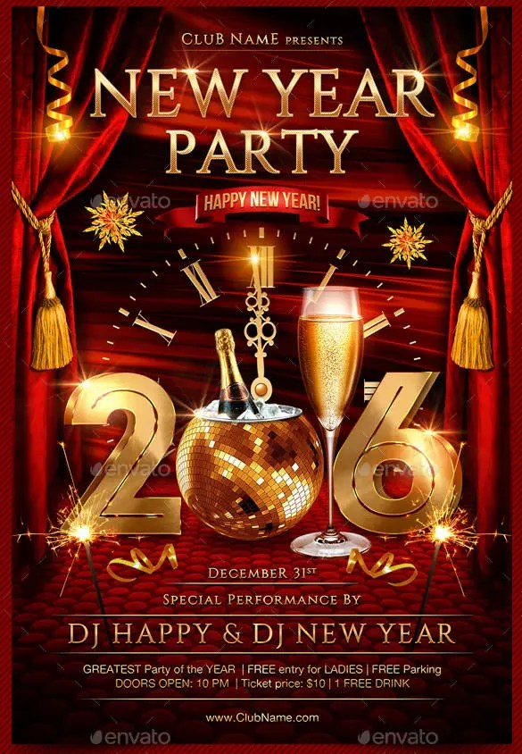 26+ New Year Flyer Templates \u2013 Free PSD, EPS, Indesign, Word Format - new years party flyer