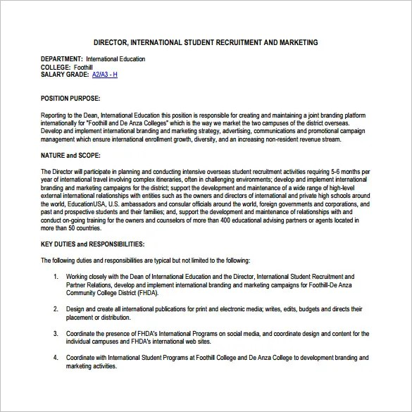 Director Of Marketing Job Description Breathtaking Marketing Duties - responsibilities of a marketing director