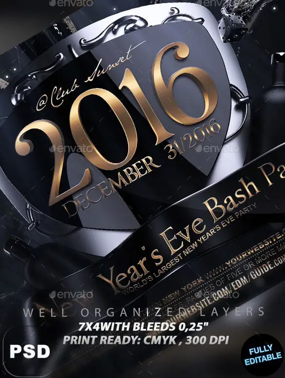 14+ New Year Poster Templates \u2013 Free PSD, EPS, Ai, Illustrator - free new years eve flyer template