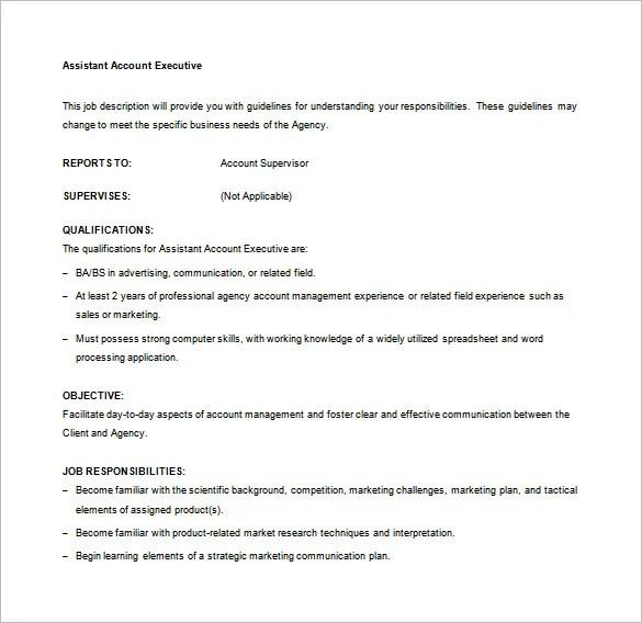 Account Executive Job Description Template \u2013 9+ Free Word, PDF