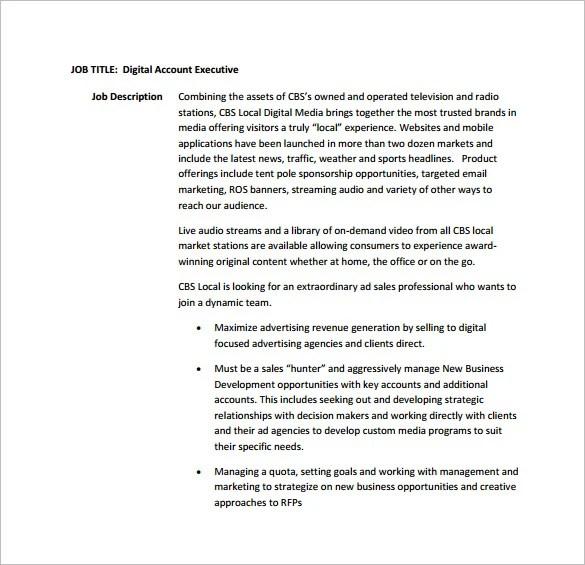 advertising executive job description - Goalgoodwinmetals