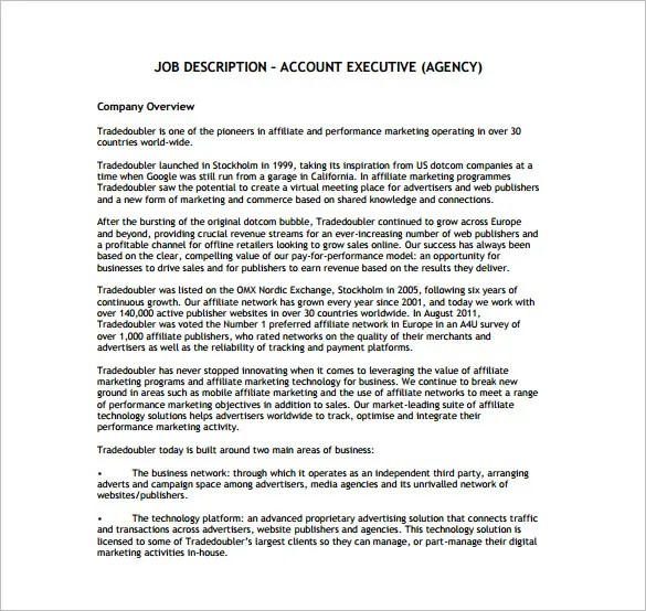 11+ Account Executive Job Description Templates \u2013 Free Sample