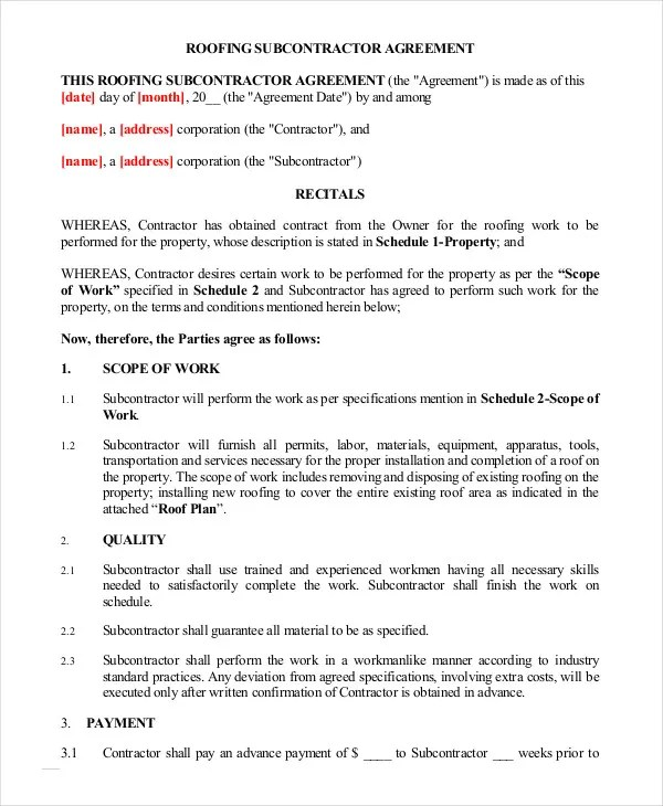 Subcontractor Agreement - 11+ Free Word, PDF Documents Downlaod - subcontractor agreement template