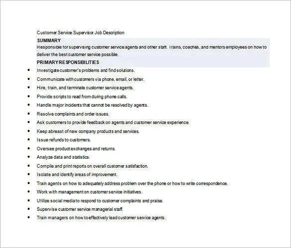 10+ Supervisor Job Description Templates \u2013 Free Sample, Example - job description template word