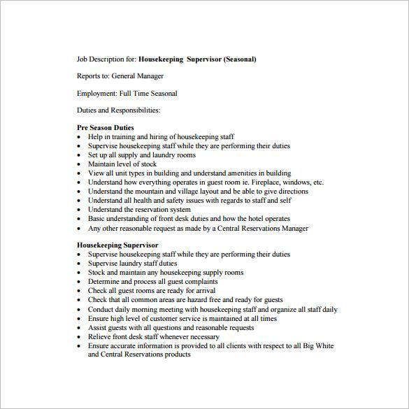 houseman description for resume free resume sles