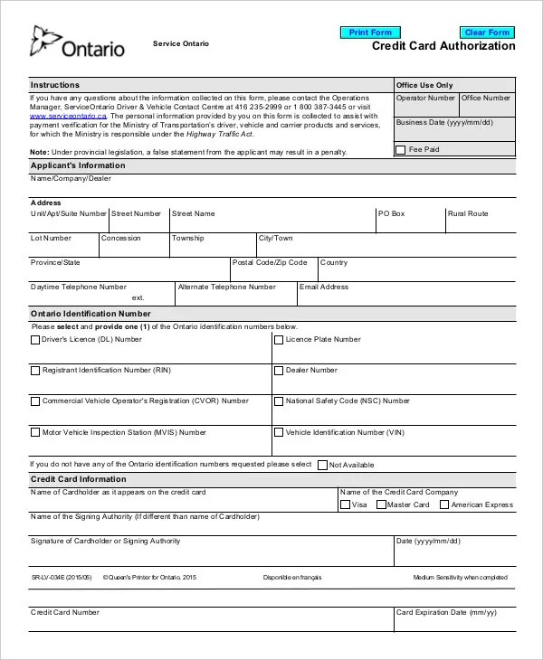 Credit Card Authorization Form Template - 10+ Free Sample, Example - authorization to use credit card