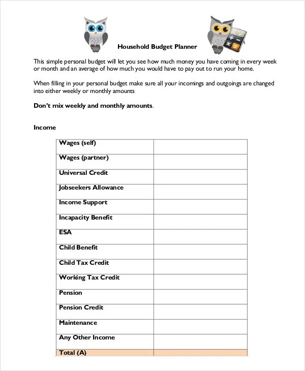 Household Budget Template - 9+ Free Sample, Example, Format Free