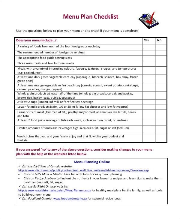 Printable Menu Planning Template - 9+ Free Word, PDF Documents - menu planning template