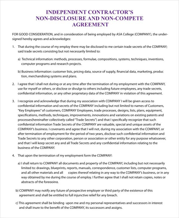 Non Compete Agreement Template - 9+ Free Sample Example, Format