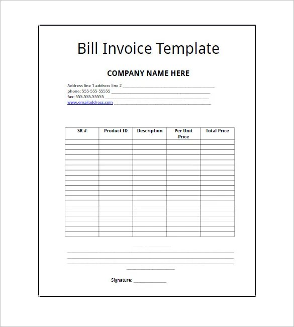 billing invoice template - Teacheng - template for a billing invoice