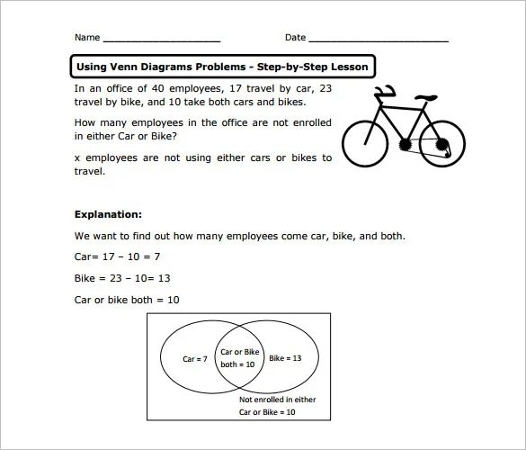 venn diagram word problems worksheet with answers