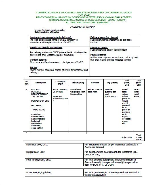 sample of commercial invoice for export