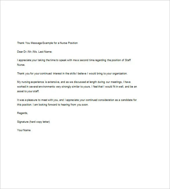 Thank You Note After Interview \u2013 8+ Free Word, Excel, PDF Format