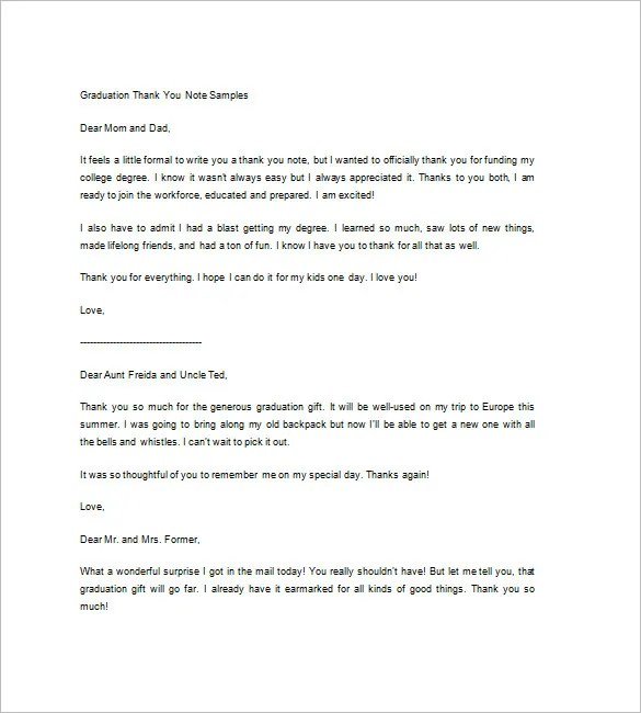Sample Thank You Note \u2013 9+ Free Word, Excel, PDF Format Download