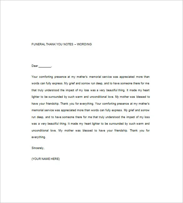 Funeral Thank You Note \u2013 8+ Free Word, Excel, PDF Format Download