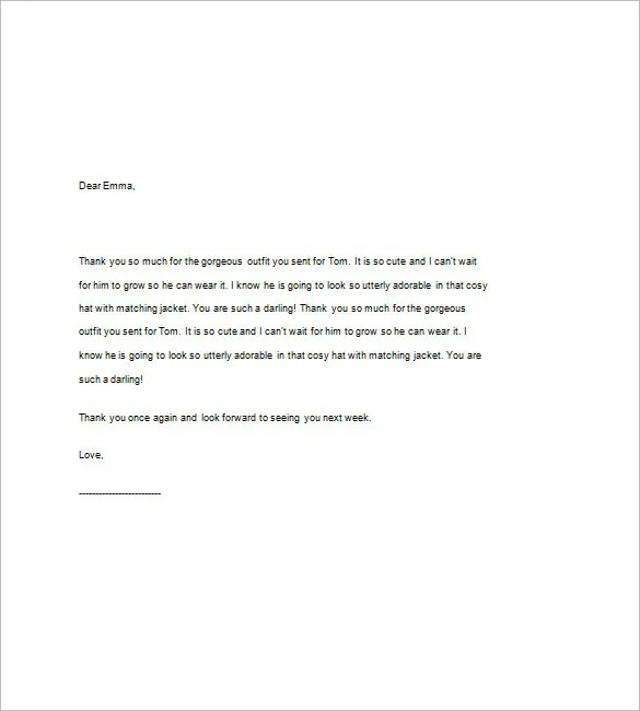 Baby Shower Thank You Note \u2013 8+ Free Word, Excel, PDF format