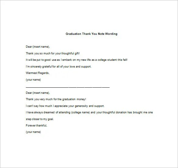 Graduation Thank You Note \u2013 8+ Free Word, Excel, PDF Format Download