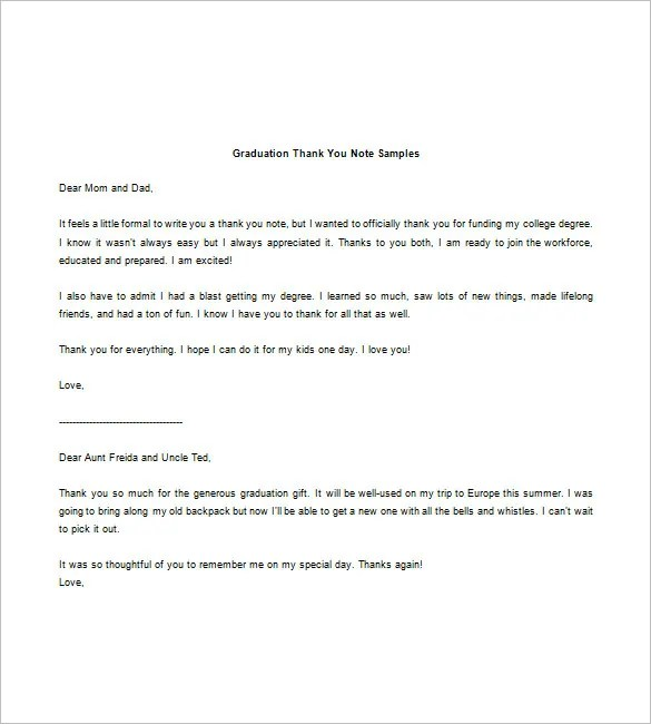 Graduation Thank You Note \u2013 8+ Free Word, Excel, PDF Format Download - thank you note to parents