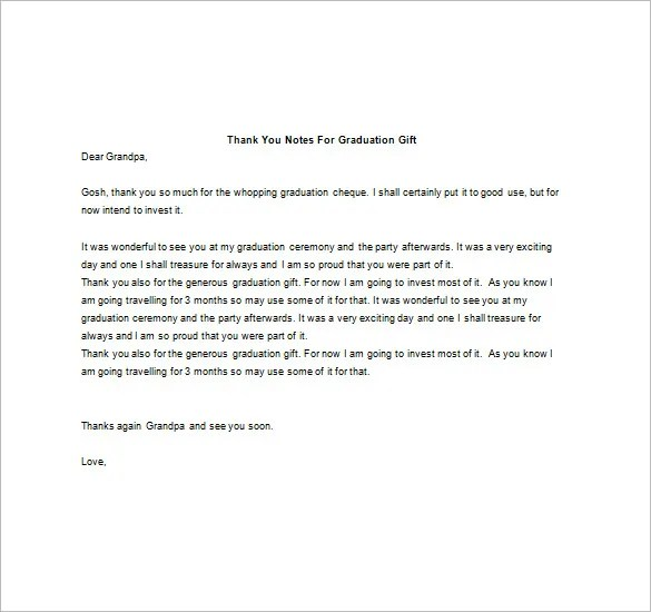 Graduation Thank You Note \u2013 8+ Free Word, Excel, PDF Format Download - graduation thank you letter