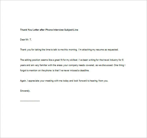 8+ Thank You Note After Phone Interview \u2013 Free Sample, Example - Sample Thank You Letter After Interview
