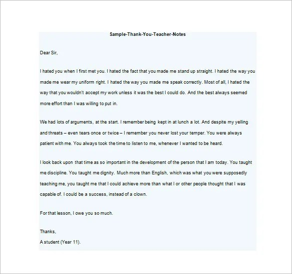 Thank You Notes For Teacher \u2013 8+ Free Word, Excel, PDF Format