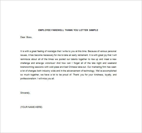 Thank You Note To Boss \u2013 10+ Free Word, Excel, PDF Format Download - thank you letters to boss