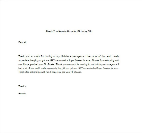 Thank You Note To Boss \u2013 10+ Free Word, Excel, PDF Format Download