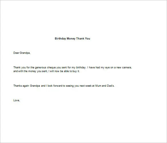 Gift Thank You Letter Samples Thank You Note For Money – 8 Free Word Excel Pdf Format