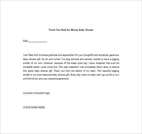 8+ Thank You Note For Money u2013 Free Sample, Example, Format - thank you letter for gift