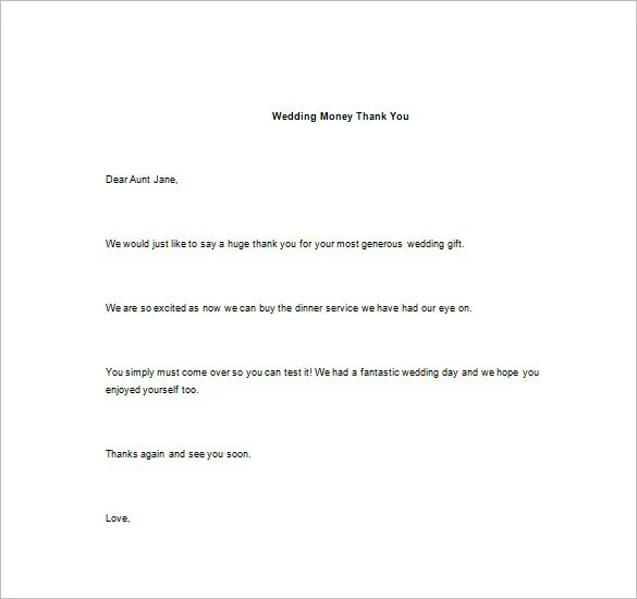 Thank You Note For Money \u2013 8+ Free Word, Excel, PDF Format Download