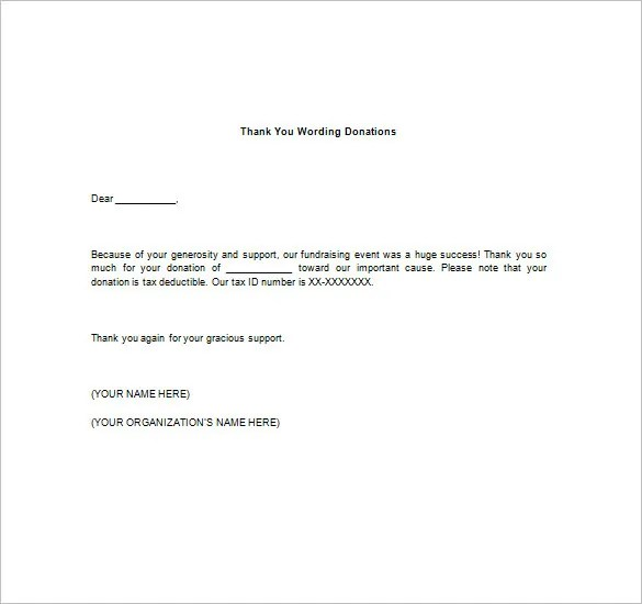 Thank You Notes For Donation \u2013 8+ Free Word, Excel, PDF Format